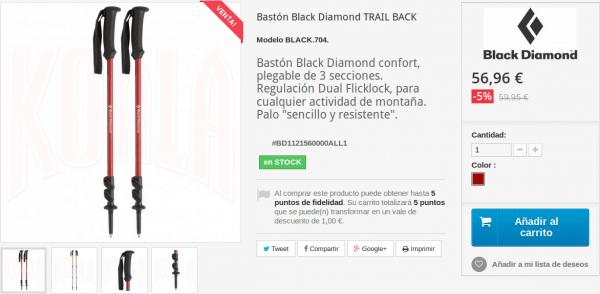 Bastón TRAIL BACK de Black Diamond en Tienda Deportes Koala