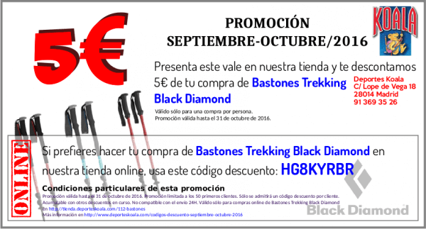 5 Euros Dto. en Bastones Trekking Black Diamond