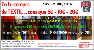 codigo descuento textil promocion noviembre 2016 deportes koala 300x162 Códigos Descuento Noviembre 2016