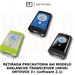 RETIRADA PRECAUTORIA del MODELO AVALANCHE TRANSCEIVER ARVA ORTOVOS 3 software 2.1 300x300 Retirada precautoria de Ortovox 3+ con versión 2.1